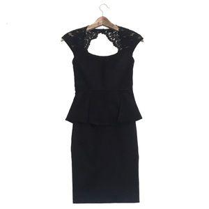 Cache Peplum Dress Black Size 2